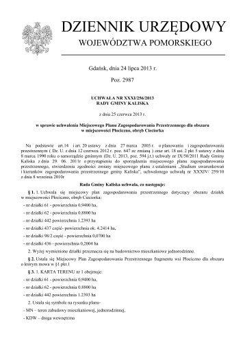 Uchwała Nr xxxi/256/2013 z dnia 25 czerwca 2013 r. - Plany ...