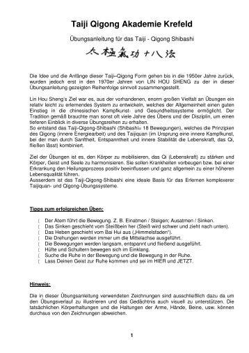 Anleitung: Taiji Qigong Shibashi - Taiji Qigong Akademie