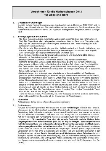 Vorschriften Herbst 2013 - Bernischer Fleckviehzuchtverband