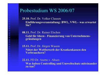 Probestudium WS 2006/07 - an der Universität Duisburg-Essen