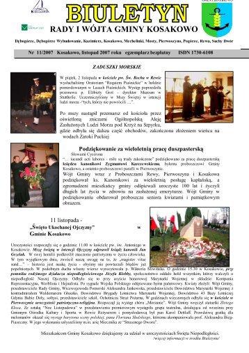 Biuletyn nr 11/2007 listopad (pdf-7 Mb) - Gmina Kosakowo