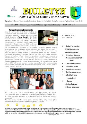 Biuletyn nr 06/2008 czerwiec (pdf-1 Mb) - Gmina Kosakowo