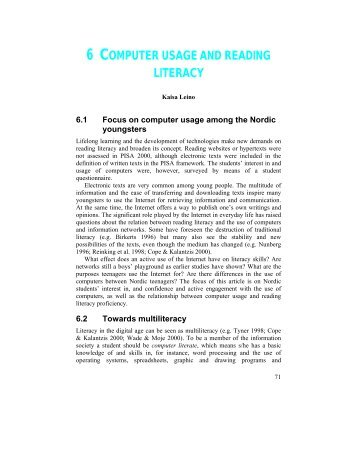 6 COMPUTER USAGE AND READING LITERACY - Pisa