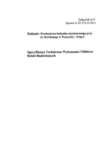 Specyfikacja Techniczna Wykonania i Odbioru - Pszczyna