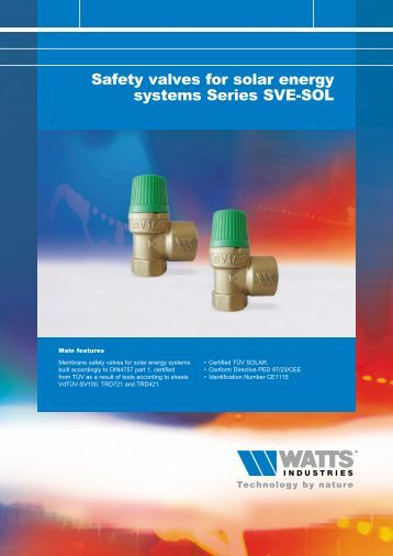 Safety valves for Solar energy systems Series SVE ... - Watts Industries
