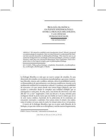 BIOLOGÍA FILOSÓFICA: UN PUENTE ... - Ludus Vitalis