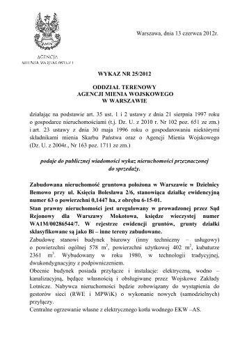 Warszawa, dnia 13 czerwca 2012r. WYKAZ NR 25/2012 ODDZIAŁ ...