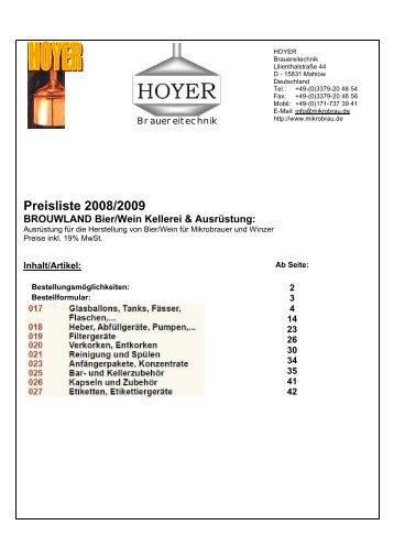 Preisliste 2008/2009 BROUWLAND Bier/Wein Kellerei & Ausrüstung