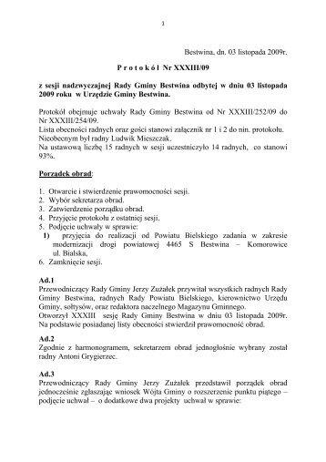 Protokół Nr XXXIII/2009 z dnia 2009-11-03 - Bestwina, Urząd Gminy
