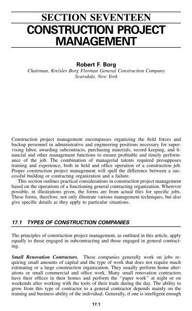 Section 17 Construction Project Management pdf - E-Books
