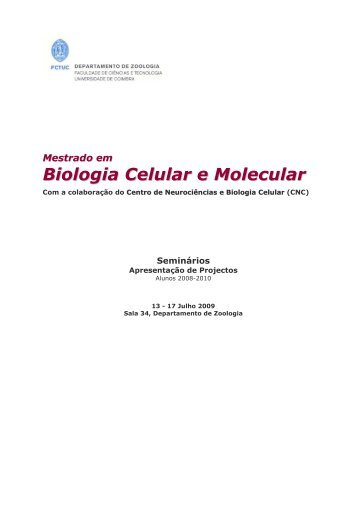 Biologia Celular e Molecular - Universidade de Coimbra