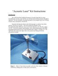 """Acoustic Laser"" Kit Instructions - Graduate Program in Acoustics"