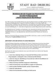 Richtlinien für die Vergabe - Bad Driburg