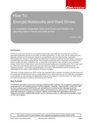 Encrypt Notebooks and Hard Drives - Giritech.de