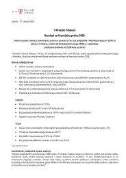 HT d.d. - obavijest o rezultatima poslovanja za 2008. godinu