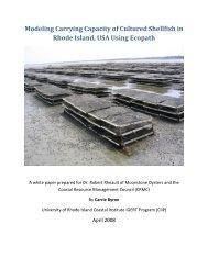 Modeling Carrying Capacity of Shellfish in RI using Ecopath