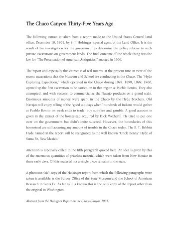 The Chaco Canyon Thirty-Five Years Ago - El Palacio Magazine