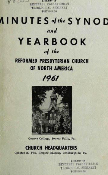 Reformed Presbyterian Minutes of Synod 1961 - Rparchives.org