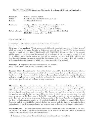 MATH 3385/5385M: Quantum Mechanics & Advanced Quantum ...