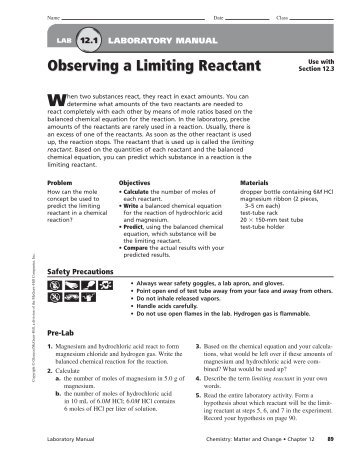 limiting reactants lab Lab 18: limiting reactant lab activity safety precautions: 9 think carefully about your limiting and excess reactants and the products you have formed.