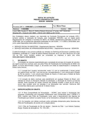 EDITAL DE LICITAÇÃO PREGÃO CONJUNTO(A) Nº 05/2008 SESI/DN