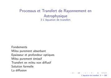 L'équation de transfert - Laboratoire d'Astrophysique de Bordeaux