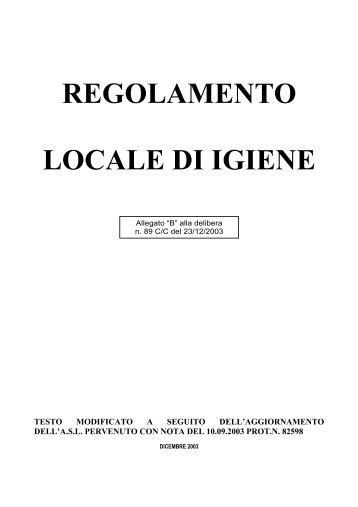 Regolamento locale di igiene aggiornamento titolo iii asl for Regolamento igiene milano