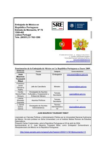 Embajada y datos del país - México Diplomático