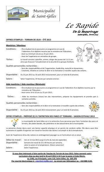 2013-04 Premier Courant d'Avril - Municipalité de Saint-Gilles