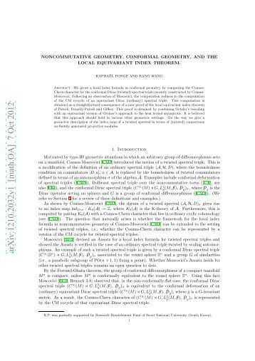 Noncommutative Geomrtry, Conformal Geometry, and The local ...