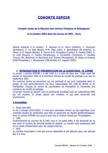 CR réunion ESPOIR 08.10.02 - La cohorte ESPOIR