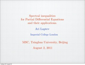 Spectral inequalities for Partial Differential Equations and their ...