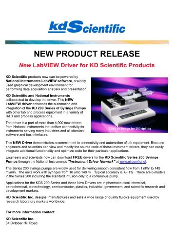 New LabVIEW Driver for KD Scientific Products