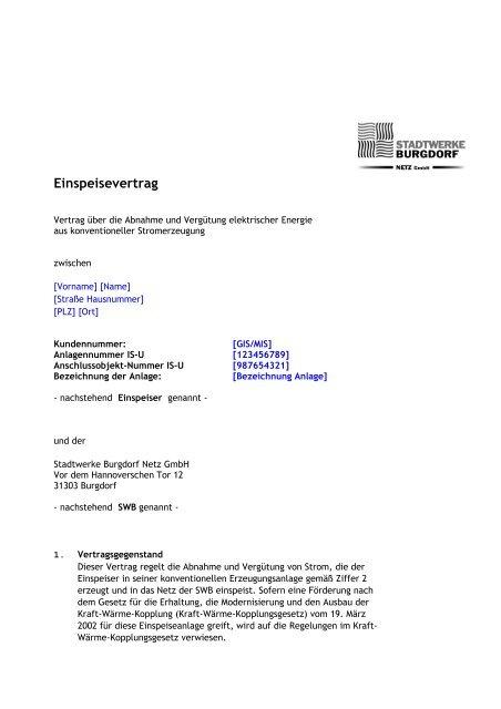 Einspeisung Bhkw Heiza L Muster Stadtwerke Burgdorf Netz De