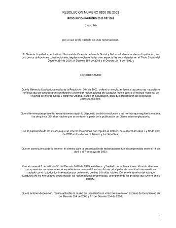 RESOLUCION NUMERO 0200 DE 2003 - Camacol