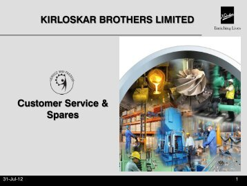 Customer Service & Spares KIRLOSKAR BROTHERS LIMITED