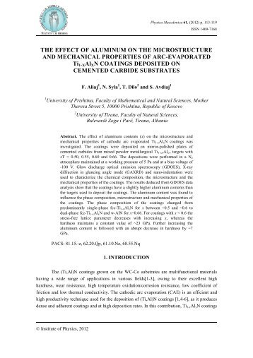 THE EFFECT OF ALUMINUM ON THE MICROSTRUCTURE AND ...