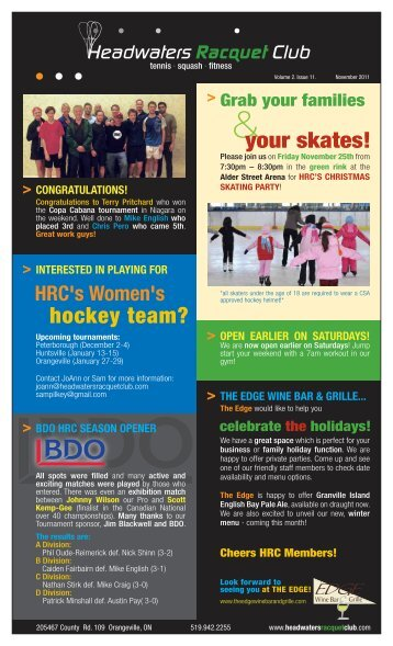 hockey team? your skates! - Headwaters Racquet Club