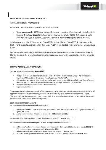 """REGOLAMENTO PROMOZIONE """"ESTATE 2012"""" IN ... - Webank"""
