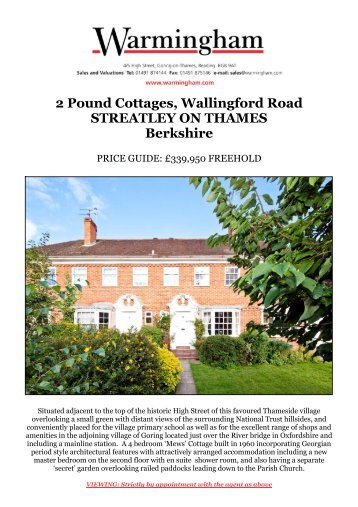 2 Pound Cottages, Wallingford Road STREATLEY ... - Warmingham