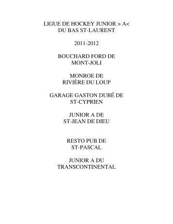 ligue de hockey junior > a< du bas st-laurent 2011-2012 bouchard ...