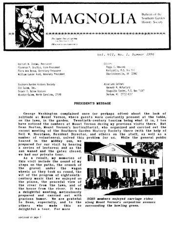 Vol. VII, no. 1 & 2 - Southern Garden History Society