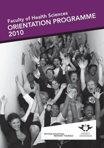 ORIENTATION PROGRAMME 2010 - University of Johannesburg