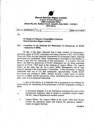 Bharat Sanchar Nigam Limited - bsnl association of serving ...
