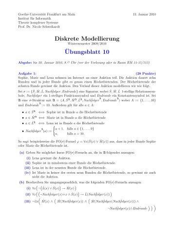 Blatt 10 - Theorie komplexer Systeme - Goethe-Universität