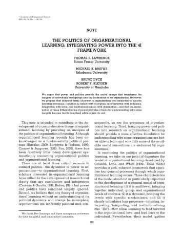 the politics of organizational learning - IHMC Public Cmaps