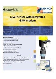 GaugerGSM Level sensor with integrated GSM modem