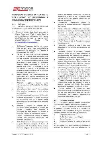 condizioni generali di contratto per i servizi ict - Impresa Semplice