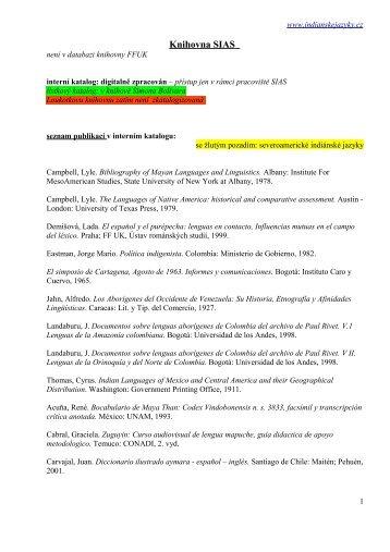 lista - Indiánské jazyky