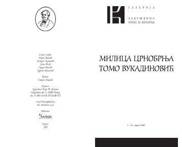 Milica Crnobrnja i Tomo Vukadinovic katalog izlozbe - Arte
